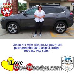 Constance was beyond excited to be purchasing a 2019 Jeep Cherokee! Congratulations! 🎉 #wow #wowwoodys #woodysautomotive #cars #trucks #suvs #carsforsale #trucksforsale #suvsforsale #kansascity #chillicothe #customerreviews #customertestimonials #wowcarbuying #carshopping #happycustomers #2019jeepcherokee #jeepcherokee #jeep #cherokee