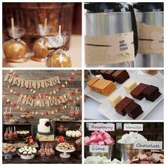 Fall/Autumn wedding reception, hot caramel apple cider, caramel apples, s'mores, rustic