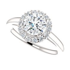 Forever One Moissanite Engagement Ring| 1 Carat Round Forever One| Moissanite and Diamonds|