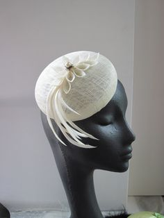 Womens Cocktail Hat Ivory Sinamay Wedding Formal by MindYourBonce, £55.00