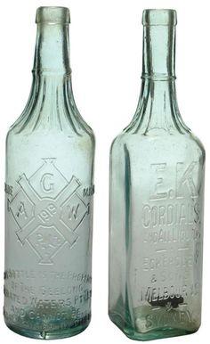 Pair of vintage 1920s Cordial bottles: Geelong Aerated Waters and EK Cordials, Eckersley & Sons Melbourne & Sydney.