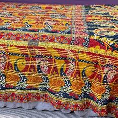 Hand block printed and hand-stitched from vintage cotton Sari's.We have a series of economy Kantha Quilts on offer at very affordable prices. Yummy Linen Beach Blanket, Kantha Quilt, Silk Thread, Vintage Quilts, Cotton Quilts, Vintage Cotton, Hand Stitching, Embroidery Stitches, Printed