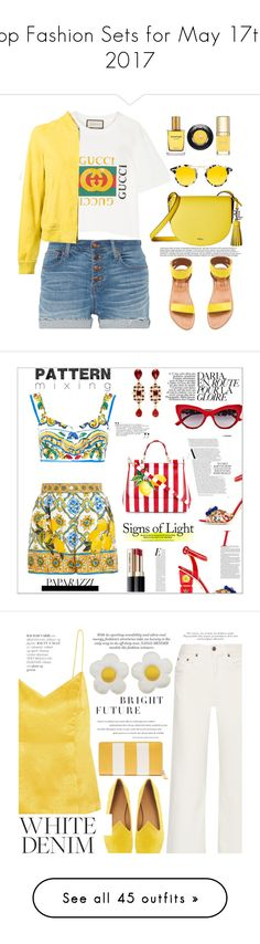 """Top Fashion Sets for May 17th, 2017"" by polyvore ❤ liked on Polyvore featuring Madewell, Gucci, Herno, K. Jacques, Lauren Ralph Lauren, Krewe, Strangelove NYC, Dolce&Gabbana, Lancôme and patternmixing"