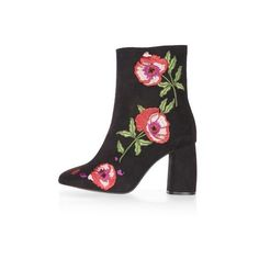Topshop Madame Embroidery Boots (2.541.700 VND) ❤ liked on Polyvore featuring shoes, boots, ankle booties, black, topshop booties, high heel bootie, short boots, ankle boots and black high heel bootie