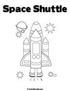 Space Party Colouring Page