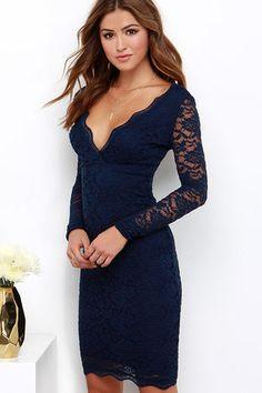 Sexy Blue Dress - Lace Dress - Long Sleeve Dress - Midi Dress - $49.00