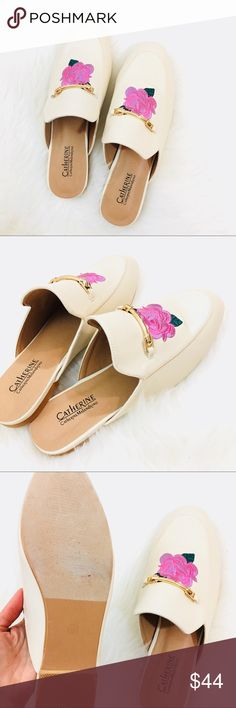 Catherine Malandrino Ivory Mules Gorgeous new never been worn designer mules. Floral embroidered front with gold horsebit detail. So chic! 🌺 Catherine Malandrino Shoes Mules & Clogs