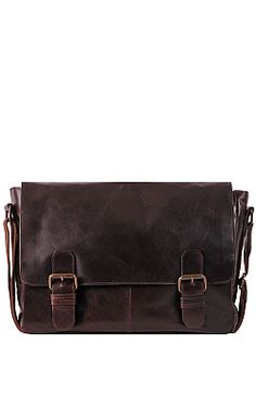Wilsons Leather Dakota 3/4 Flap Double Buckle Leather Briefcase - Wilsons Leather