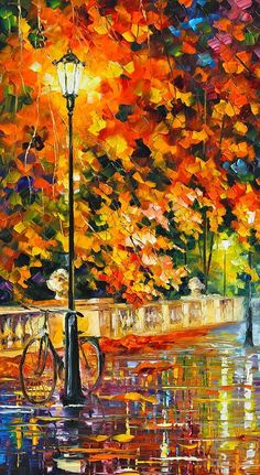 Lonely Bicycle Painting - by Leonid Afremov... oil on canvas with palette knife