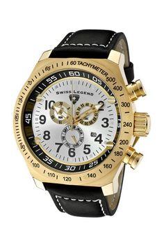 Swiss Legend Men's SL Pilot Chronograph Watch black leather strap gold plate
