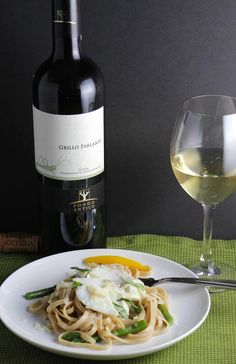 Grillo wine paired with a linguine, asparagus and cod dish is a great Sicilian wine pairing!