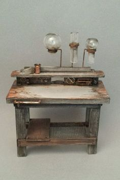 OOAK 1:12 Scale Dollhouse Miniature Grungy Science Lab Table and Equipment