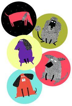 elodiejarret: dogs for stickers, by Elodie JARRET © elodie jarret 2014