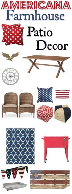 Red White and blue patio decor for your memorial day parties fourth of July Parties and Labor Day parties. Create a patriotic patio this summer with these patio decor options!