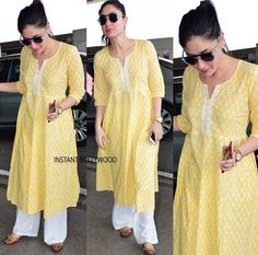 Beautiful Kareena Kapoor Wearing Cotton Khadi Print Kurti with Plazzo 🌸 Order Now 💕 Very Pretty. A Must Buy . Dress Indian Style, Indian Dresses, Indian Outfits, Pakistani Fashion Casual, Boho Fashion, Winter Fashion, Indian Attire, Indian Ethnic Wear, Kurta Designs Women