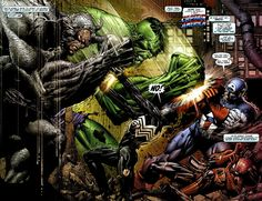 Hulk and Rhino vs. Captain America and Spider-Man, by David Finch