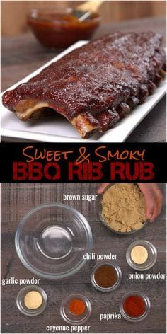 Oven Baked BBQ Ribs with Homemade Dry Rub & BBQ Sauce Recipe - - No barbecue pit? No problem. You can make fall-off-the-bone tender ribs in the oven with our melt-in-your-mouth homemade dry rub and easy bbq sauce recipe. Dry Rub Recipes, Sauce Recipes, Meat Recipes, Cooking Recipes, Bbq Rib Dry Rub Recipe, Cooking Games, Smoker Recipes, Pork Ribs Rub Recipe Brown Sugar, Cooking Food