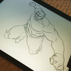 Hulkin out on the IPad. #procreate #process #sketch #hulk by philbourassa