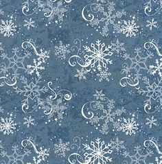 fabric - White Snowflake Swirl on Blue Fabric Winter fabric with white fancy flakes swirling across a  dusty blue background. Wilmington Pri...