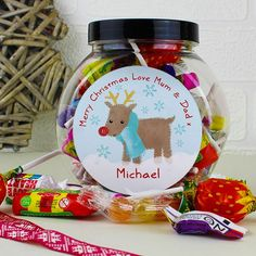 Personalised Felt Stitch Reindeer Sweet Jar What could be better than a jar of scrumptious sweets this Christmas from Creative Gifts uk