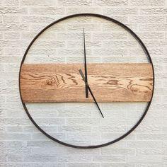 reclaimed oak and iron clock by sboliver designs reclaimed ecofriendly wood oak wagon wheel buggy wheel vintage modern rustic minimal - Wood Design Modern Clock, Modern Rustic Office, Contemporary Clocks, Modern Rustic Furniture, Modern Contemporary, Bois Diy, Diy Clock, Clock Ideas, Wood Clocks
