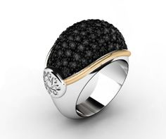 925 Sterling Silver Ring Pink 18k. Gold Black Spinels. #bohemme #jewelry #glamour #fashion #ring #gold