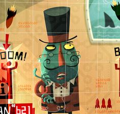 Evil Genius - The Extraordinaires by Steve Simpson, via Behance Evil Geniuses, Collage Illustration, Graphic Design Trends, Creative Thinking, Illustrators, Screen Printing, Character Design, Design Inspiration, Drawings