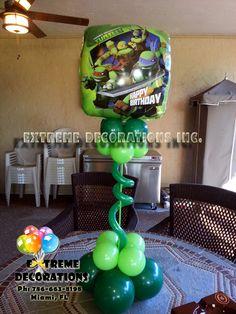 TMNT Ninja Turtle balloon centerpiece topiary style. Party centerpiece. Extreme Decorations Ph: 786-663-8198 extremedecorations@gmail.com www.extremedecorations.com