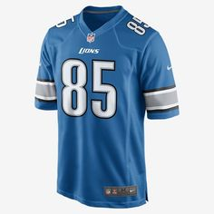 TEAM LOYALTY, EVERYDAY COMFORT. Rep your favorite team and player anytime in the NFL Detroit Lions Game Jersey, inspired by what they're wearing on the field and designed for total comfort. Tailored Fit A tailored silhouette delivers a contoured, modern fit. Light, Soft Feel Silicone print numbers offer lightweight durability. Clean Comfort A tagless neck label provides streamlined comfort. Product Details Strategic ventilation for breathability Woven jock tag at front lower left TPU shield…