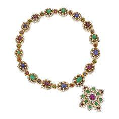 18 Karat Gold, Diamond and Gem-Set Necklace-Bracelet Combination and Pendant-Brooch, Van Cleef & Arpels