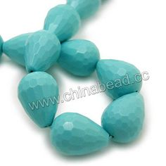 Gemstone Beads, Imit. Blue Turquoise, Faceted rounded teardrop, Approx 15x20mm, Hole: Approx 1.2mm, 20pcs per strand, Sold by strands