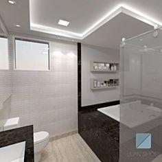Banho master com iluminação indireta e revestimento 3D 🔝🔝