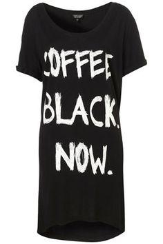 BLACK COFFEE OVERSIZED NIGHT TEE    Price:£16.00