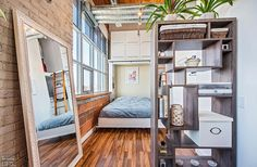 Feather Factory Lofts-2154 Dundas St W #PH1 | WOW! Rare penthouse junior 1 bedroom authentic post, brick & beam heritage LOFT, with exposed brick walls, extra high 14.5 ft high factory wood ceilings & bright West exposure from large warehouse windows. | More info here: torontolofts.ca/feather-factory-lofts-lofts-for-sale/2154-dundas-st-w-ph1-1 Exposed Brick Walls, Wood Ceilings, Murphy Bed, Lofts, Bunk Beds, Beams, Warehouse, Shelving, Feather