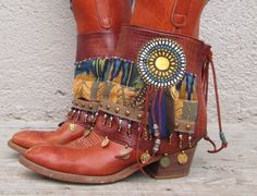 Macaw Duster Tribal Boot cuffs by LotusRootsCreations on Etsy, #bohemian #boots #feathers