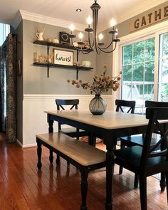 Get the modern farmhouse dining room decor ideas from the table, lighting, chairs, and more. Make the moment memorable meal with your family and remembered. Dining Room Walls, Dining Room Design, Dinning Room Paint Ideas, Dining Room Floating Shelves, Dinning Room Table Decor, Dining Room With Bar, Dining Room Ideas On A Budget, Dining Tables, Dining Room Colors