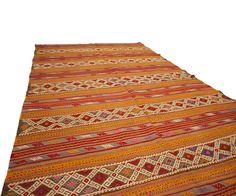 "Vintage Embroidered Anatolian Kilim in Orange + Red Stripes 5'1"" x 8'"