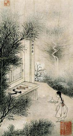 Unidentified artist, via SohoRang Traditional Paintings, Traditional Art, Korean Painting, Chinese Painting, Illustrations, Illustration Art, Asian Artwork, Korean Art, Indigenous Art