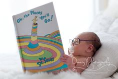 baby reading book, dr. seuss, oh the places you'll go!  © Dimery Photography 2013