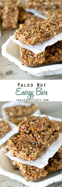 "Gluten free snack bars Paleo Nut Energy Bars ""Packed with nuts, dates and a hint of cinnamon, these are great for an afternoon snack."" ""2 cups chopped pecans 1 cup chopped walnuts 1 cup chopped almonds 20 dates, finely chopped ¾ cup egg whites 2 tablespoons cinnamon 1½ teaspoons vanilla"""