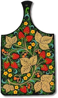 A wooden chopping board decorated with Russian folk Khokhloma painting. A pattern with strawberries in black, red, green and golden colours. One Stroke Painting, Tole Painting, Pattern Art, Print Patterns, Zentangle, Russian Folk Art, Morris, Folk Fashion, Arte Popular