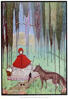"""vintageillustration: """" 'Little Red Riding Hood' from 'The fairy tales of Charles Perrault' illustrated by Harry Clarke. Published 1922 by George G. Harrap & Co. See the complete book here. """""""
