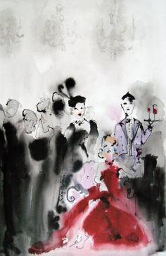 "Saatchi Art Artist Bridget Davies Art; Painting, ""She Loved Parties 2"" #art"