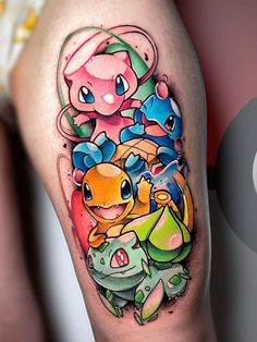 Watercolor Tattoo Sleeve, Small Watercolor Tattoo, Leg Tattoos, Sleeve Tattoos, Cool Tattoos, Tattoo Ink, Pokemon Sleeves, Cute Disney Tattoos, Pikachu Tattoo