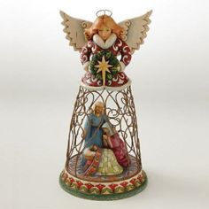 Enesco Jim Shore Heartwood Creek Nativity Angel with Holy Family Inside Wire Skirt Figurine Inch Jim Shore Christmas, What Is Christmas, Merry Christmas To All, Christmas Angels, Christmas Time, Xmas, Christmas Nativity Scene, Nativity Sets, Nativity Creche