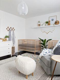 Ikea Nursery, Nursery Twins, Nursery Room Decor, Black Crib Nursery, Baby Twins, Nursery Rugs, Project Nursery, Babies, Twin Baby Rooms