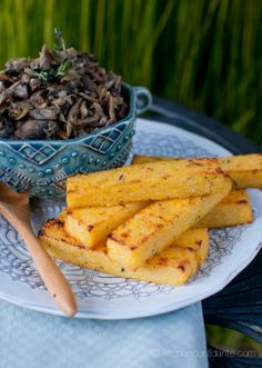 Herbed Polenta Fries with Mushroom & Artichoke Fricassée - Kitchen Confidante