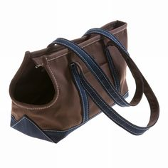 Brown & Navy Canvas Dog Carrier Bag - Mungo & Maud Dog and Cat Outfitters Dog Purse, Dog Bag, Small Dog Accessories, Dog Carrier Bag, Collar And Leash, Dog Collars, Pug Life, Diy Stuffed Animals, Dog Supplies