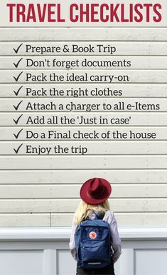 Travel Checklists Packing and preparation - Detailed lists (for women and  men) to help 6db8e63ec013