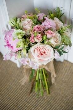 English Country Garden 'At Home' Wedding   Stretch Tent Reception   Alan Hannah Wedding Dress   Pastel Coast Bridesmaid Dresses   Pink Peony Bouquets   Images by Especially Amy Photography   http://www.rockmywedding.co.uk/sam-adam/